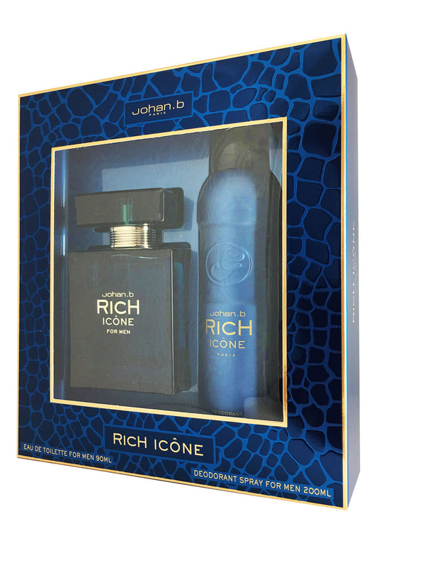 Rich Icone For Men by Johan B. 2 pc 3.0 oz EDT Set