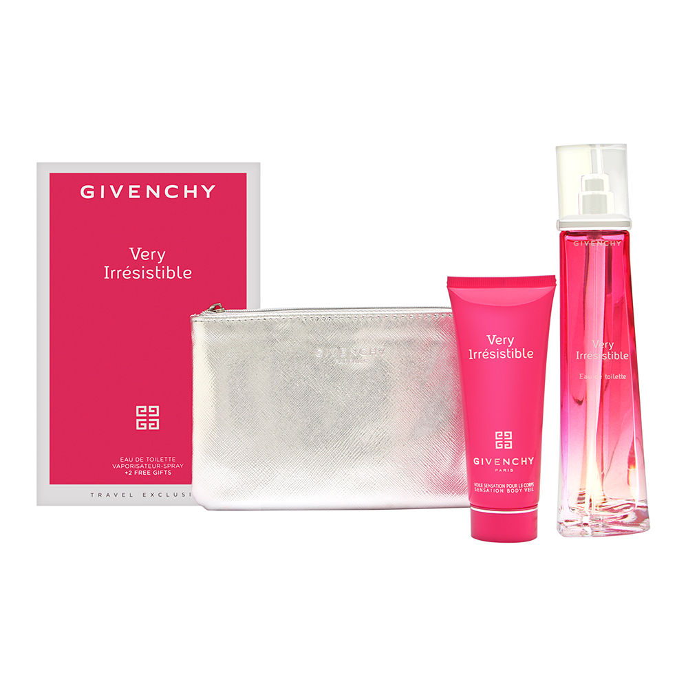 Very Irresistible by Givenchy for Women 3 Piece Set Includes: 2.5 oz Eau de Toilette Spray + 2.5 oz Sensation Body Veil + Givenchy Pouch
