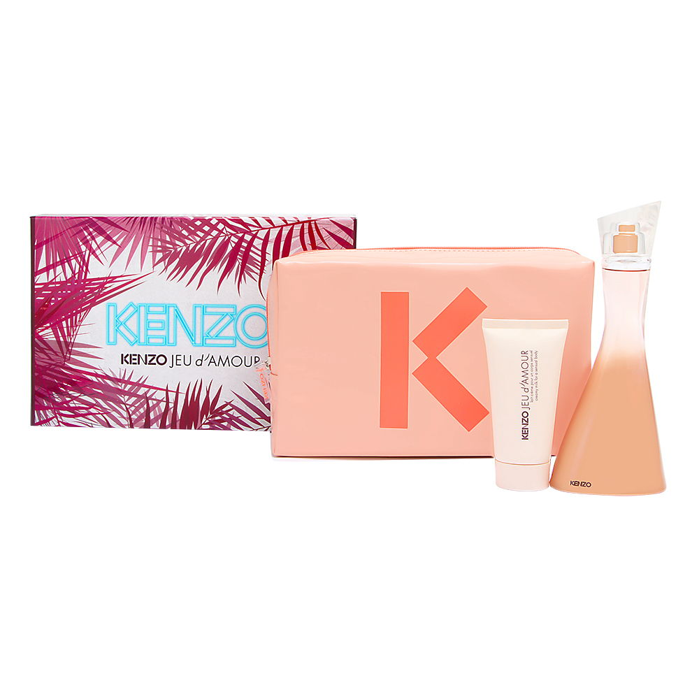 Kenzo Jeu d'Amour for Women 3 Piece Set Includes: 3.4 oz Eau de Parfum Spray + 1.7 oz Creamy Body Milk + Beauty Pouch