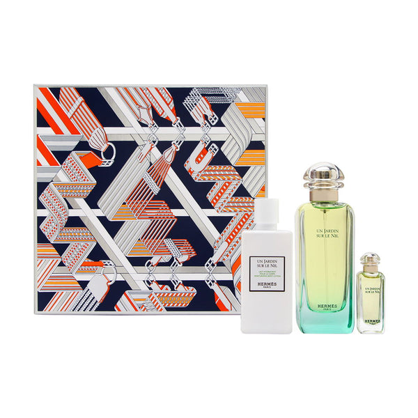 Un Jardin Sur Le Nil by Hermes 3 Piece Set Includes: 3.3 oz Eau de Toilette Spray + 0.25 oz Eau de Toilette + 2.7 oz Body Lotion