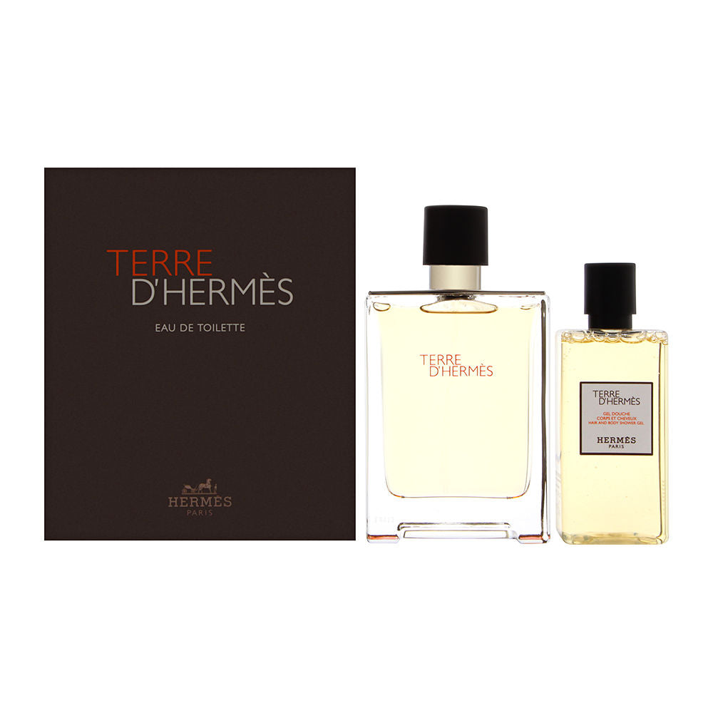 Terre D'Hermes by Hermes for Men 2 Piece Set Includes: 3.3 oz Eau de Toilette Spray + 2.7 oz All Over Shower Gel