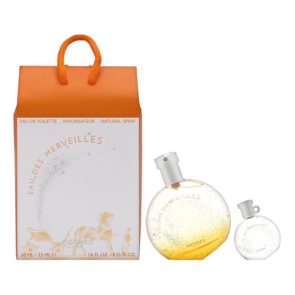 Hermes Eau Des Merveilles for Women 2 Piece Set includes 1.6 oz Eau de Toilette Spray + 0.25 oz Eau de Toilette Miniature