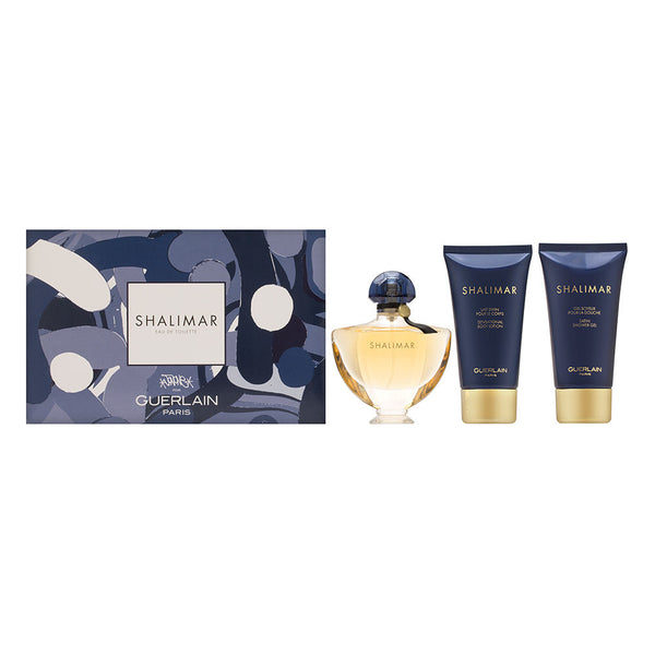 Shalimar by Guerlain for Women 3 Piece Set Includes: 1.6 oz Eau de Toilette Spray + 2.5 oz Satin Shower Gel + 2.5 oz Sensational Body Lotion