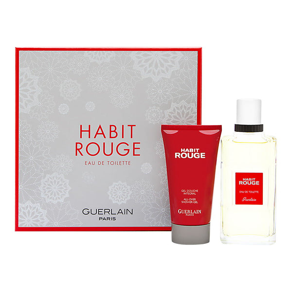Habit Rouge by Guerlain for Men 2 Piece Set Includes: 3.4 oz Eau de Toilette Spray + 2.5 oz All Over Shower Gel