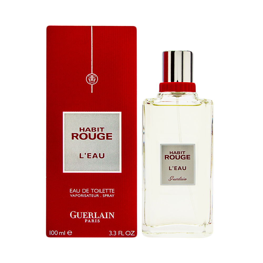 Habit Rouge L'eau by Guerlain for Men 3.3 oz Eau de Toilette Spray