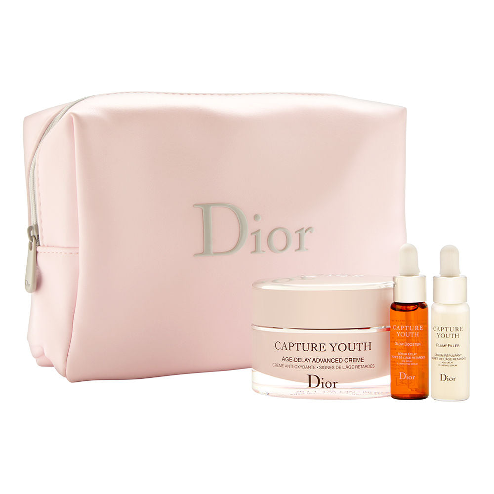 Christian Dior Capture Youth Christmas Set 4 Piece Set Includes: 0.23 oz Glow Booster + 0.23 oz Plump Filler + 1.7 oz Age-Delay Advanced Creme +Pink Makeup Bag