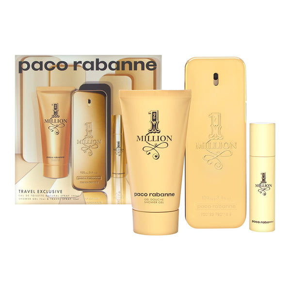 1 Million by Paco Rabanne for Men 3 Piece Set Includes: 3.4 oz Eau de Toilette Spray + 2.5 oz Shower Gel + 0.34 oz Eau de Toilette Spray