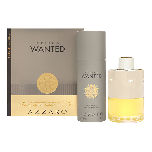 Azzaro Wanted by Loris Azzaro for Men 2 Piece Set Includes: 3.4 oz Eau de Toilette Spray + 5.1 oz Deodorant Spray