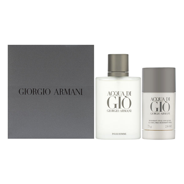 Acqua Di Gio by Giorgio Armani for Men 2 Piece Set Includes: 3.4 oz Eau de Toilette Spray + 2.6 oz Deodorant Stick (Alcohol-Free)