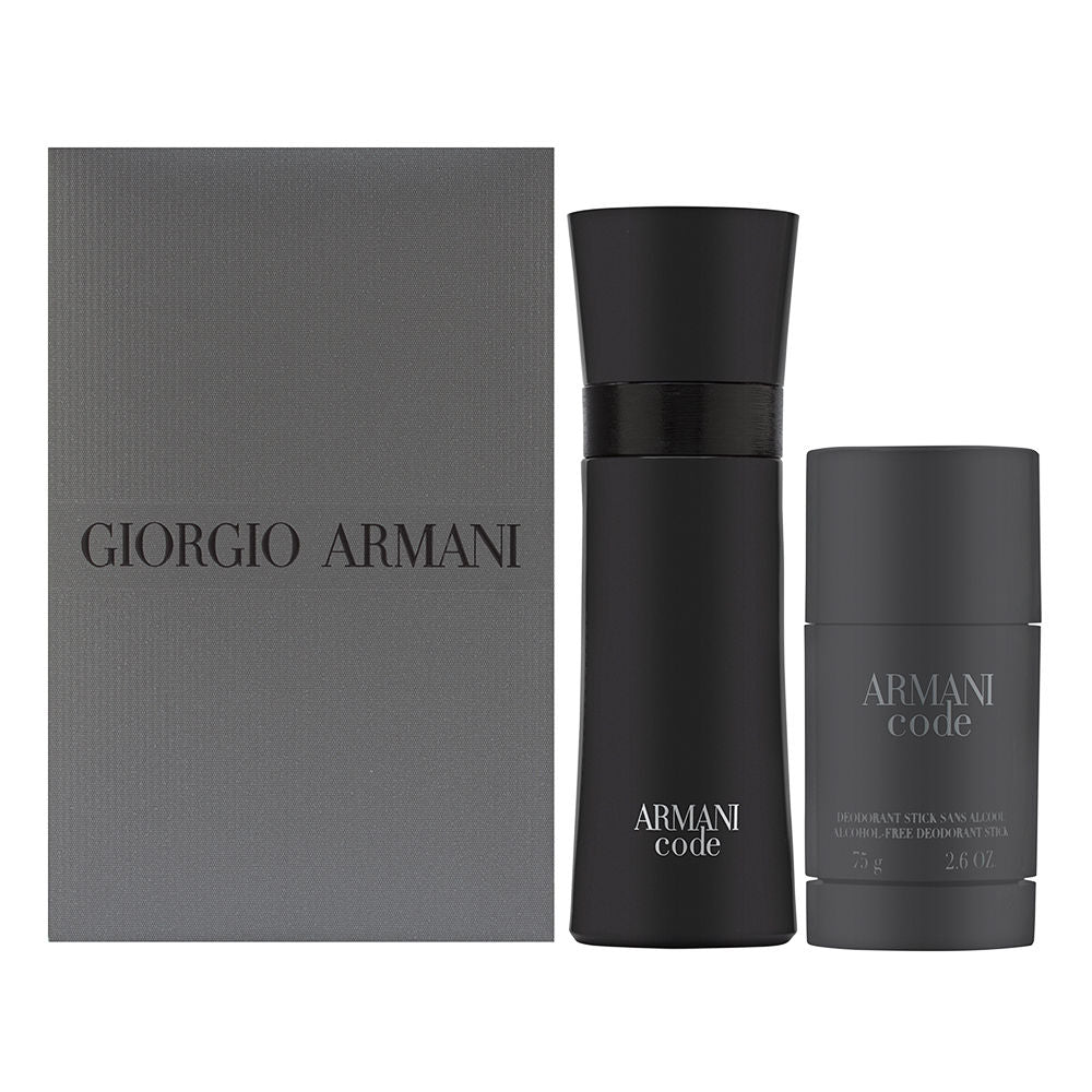 Armani Code by Giorgio Armani for Men 2 Piece Set Includes: 2.5 oz Eau de Toilette Spray + 2.6 oz Deodorant Stick Alcohol Free