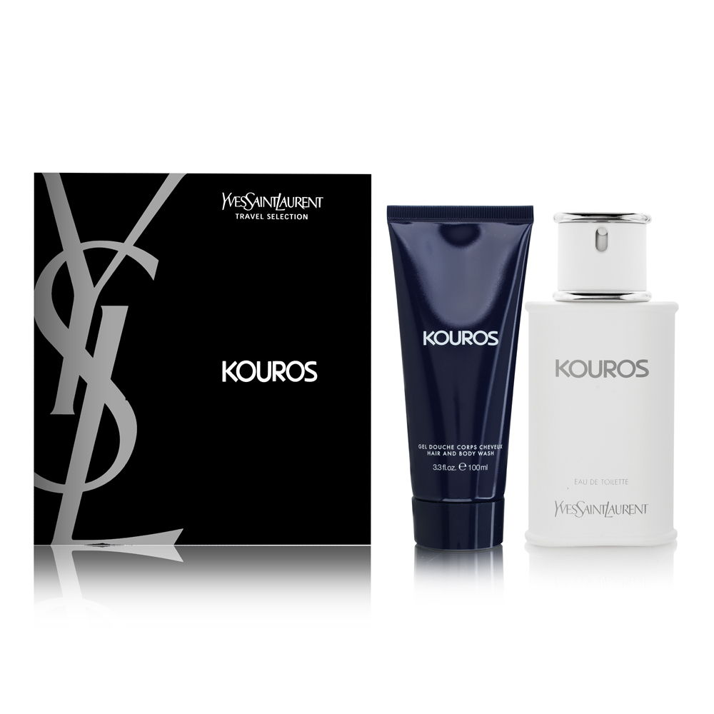 Kouros by Yves Saint Laurent for Men 2 Piece Set Includes: 3.3 oz Eau de Toilette Spray + 3.3 oz All Over Shower Gel