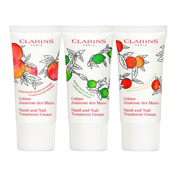 Clarins Hand & Nail Treatment Cream 3 Piece Set 3 x 30ml Scented Hand Creams