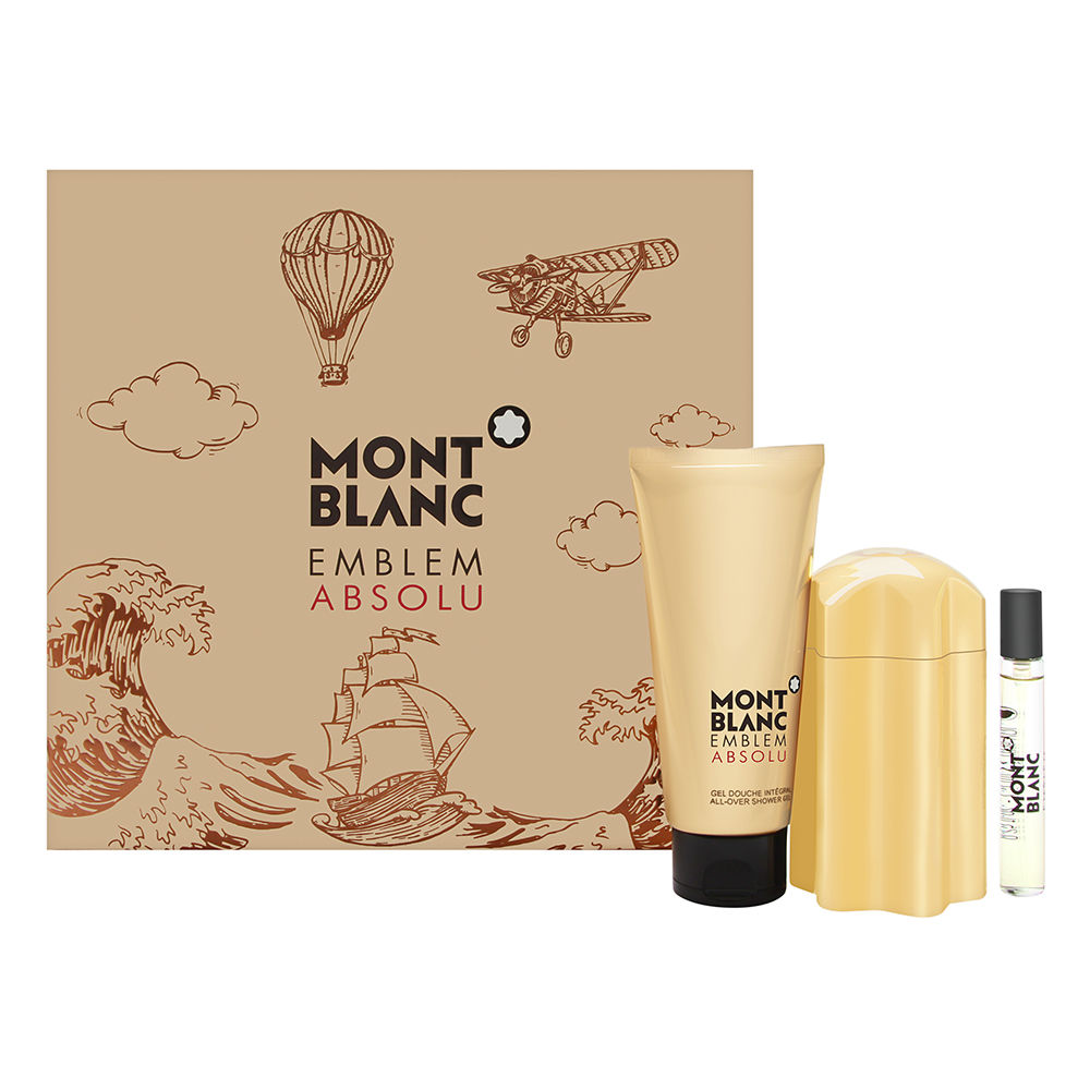 Montblanc Emblem Absolu for Men 3 Piece Set Includes: 3.3 oz Eau de Toilette Spray + 0.25 oz Eau de Toilette Spray + 3.3 oz Shower Gel