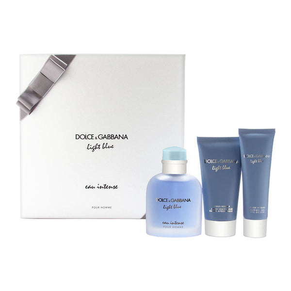 Light Blue Eau Intense by Dolce & Gabbana for Men 3 Piece Set Includes: 3.3 oz Eau de Parfum Spray Spray + 2.5 oz After Shave Balm + 1.6 oz Shower Gel