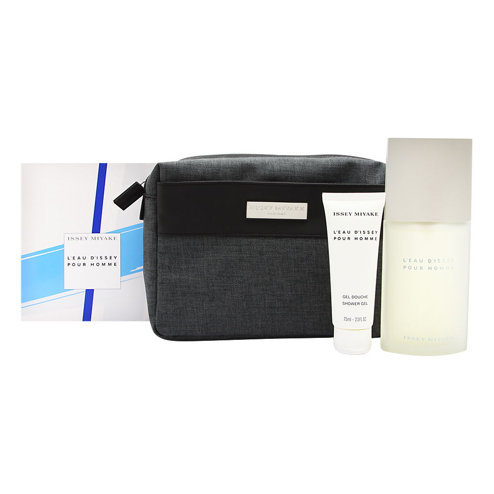 L'eau d'Issey Pour Homme by Issey Miyake 3 Piece Set Includes: 4.2 oz Eau de Toilette Spray + 2.5 oz All Over Shampoo + Toiletry Bag