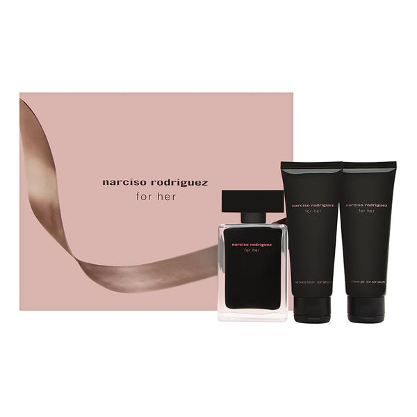 Narciso Rodriguez for Her 3 Piece Set Includes: 1.6 oz Eau de Toilette Spray + 2.5 oz Body Lotion + 2.5 oz Shower Gel