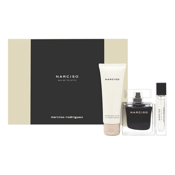 Narciso by Narciso Rodriguez for Her 3 Piece Set Includes: 3 Piece Set Includes: 3.0 oz Eau de Toilette Spray + 0.33 oz Eau de Toilette Purse Spray + 2.5 oz Body Lotion