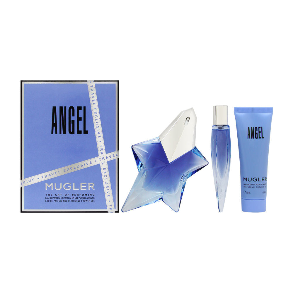Angel by Thierry Mugler for Women 3 Piece Set Includes: 1.7 oz Eau de Parfum Spray + 0.3 oz Perfume Spray + 1.7 oz Perfuming Shower Gel