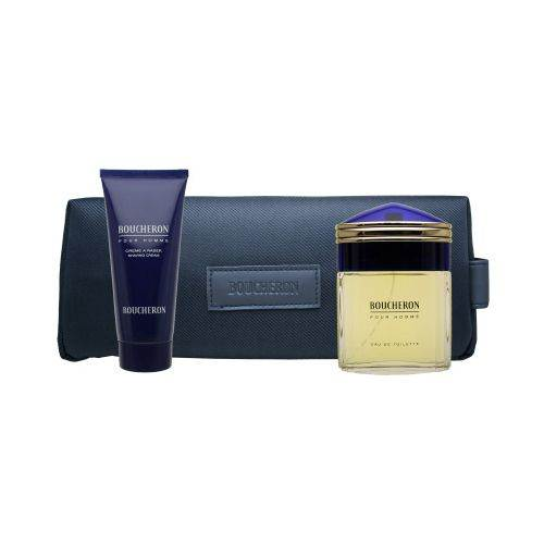Boucheron Pour Homme by Boucheron 3 Piece Set Includes: 3.3 oz Eau de Toilette Spray + 3.3 oz Shave Cream + Toiletry Case