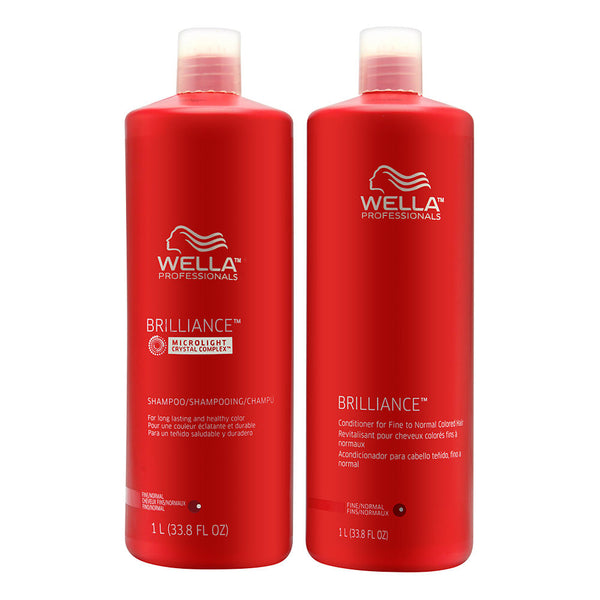 Wella Brilliance Shampoo and Conditioner Liter Duo for Fine Colored Hair 2 x 33.8 oz (1 Liter)
