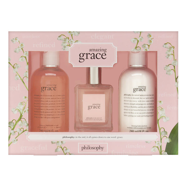 Philosophy Amazing Grace 3 Piece Set Includes: 2.0 oz Eau de Toilette Spray + 8.0 oz Shower Gel + 8.0 oz Firming Body Emulsion