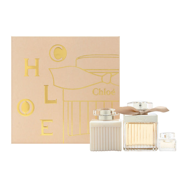Chloe by Parfums Chloe for Women 3 Piece Set Includes: 2.5 oz Eau de Parfum Spray + 3.4 oz Perfumed Body Lotion + 0.17 oz Eau de Parfum Miniature Collectible
