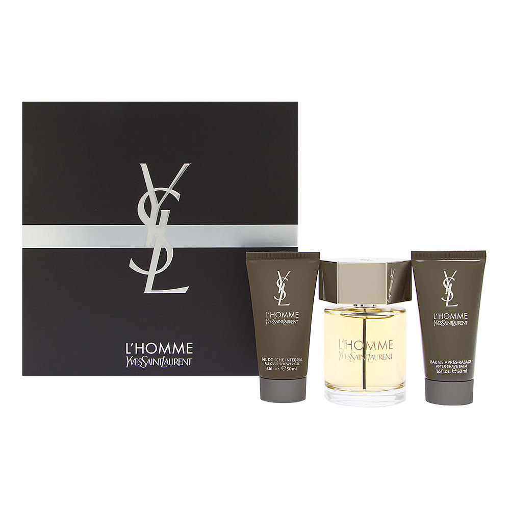 L'homme Yves Saint Laurent for Men 3 Piece Set Includes: 3.3 oz Eau de Toilette Spray + 1.6 oz All Over Shower Gel + 1.6 oz After Shave Balm