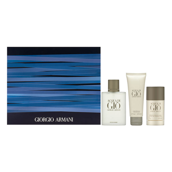 Acqua di Gio by Giorgio Armani for Men 3 Piece Set: 3.4 oz Eau de Toilette Spray + 2.5 oz After Shave Balm + 2.6 oz Deodorant Stick