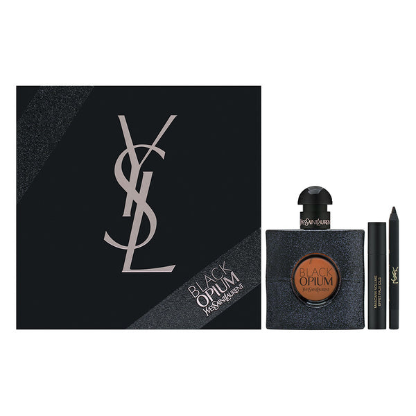 Black Opium by Yves Saint Laurent for Women 3 Piece Set Includes: 1.6 oz Eau de Parfum Spray + 1 Luxurious Mascara for False Lash Effect No. 1 + Long-Lasting Eye Pencil No. 1