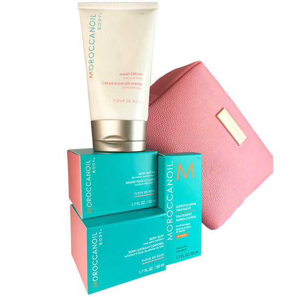 Moroccanoil Body Essentials Pink Travel Set Buff & Butter+Cream+Oil Treatment