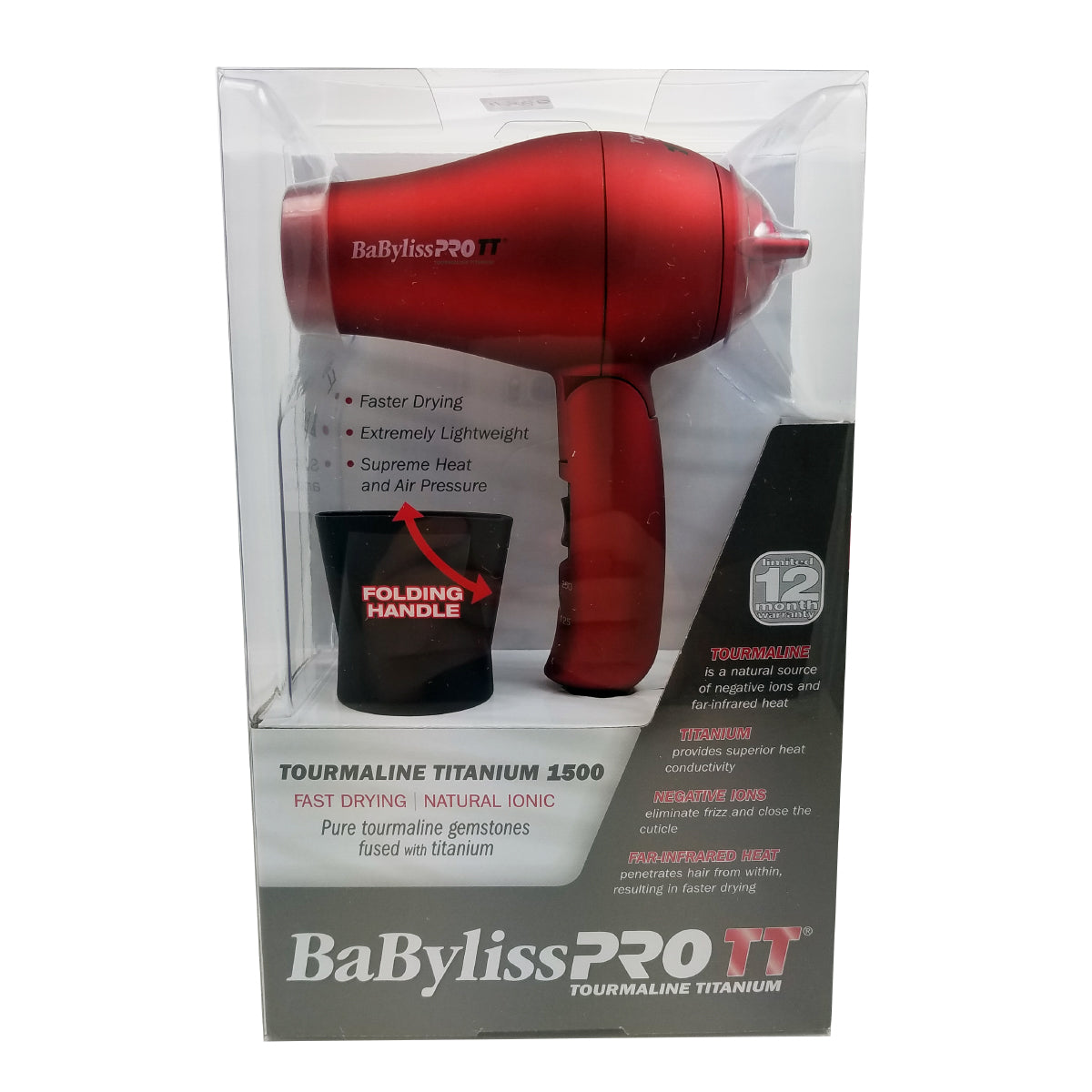Babyliss Pro Red Tourmaline Travel Hair Dryer