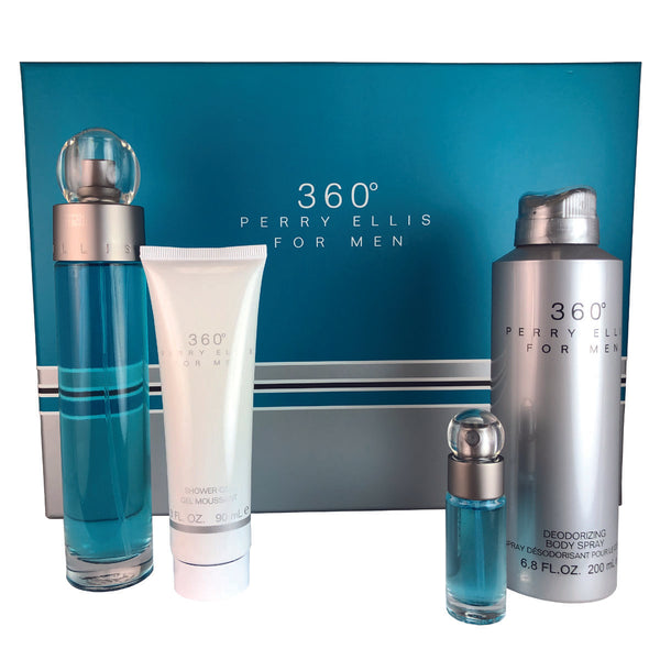 360 For Men By Perry Ellis 4 Piece Gift Set 3.4 oz Eau De Toilette Spray