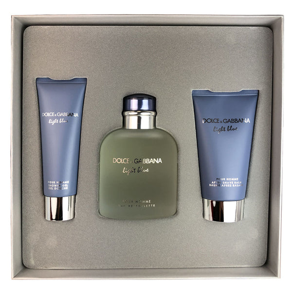 Light Blue for Men By Dolce & Gabbana 3 Piece Gift Set 4 oz Eau de Toilette