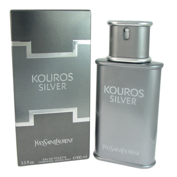 Kouros Silver for Men by Yves Saint Laurent 3.3 oz Eau de Toilette Natural Spray