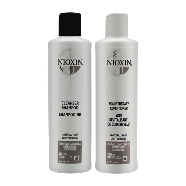 Nioxin System 1 Duo Cleanser Shampoo + Scalp Therapy Conditioner - Natural Hair | Light Thinning 2 x 10.1 oz