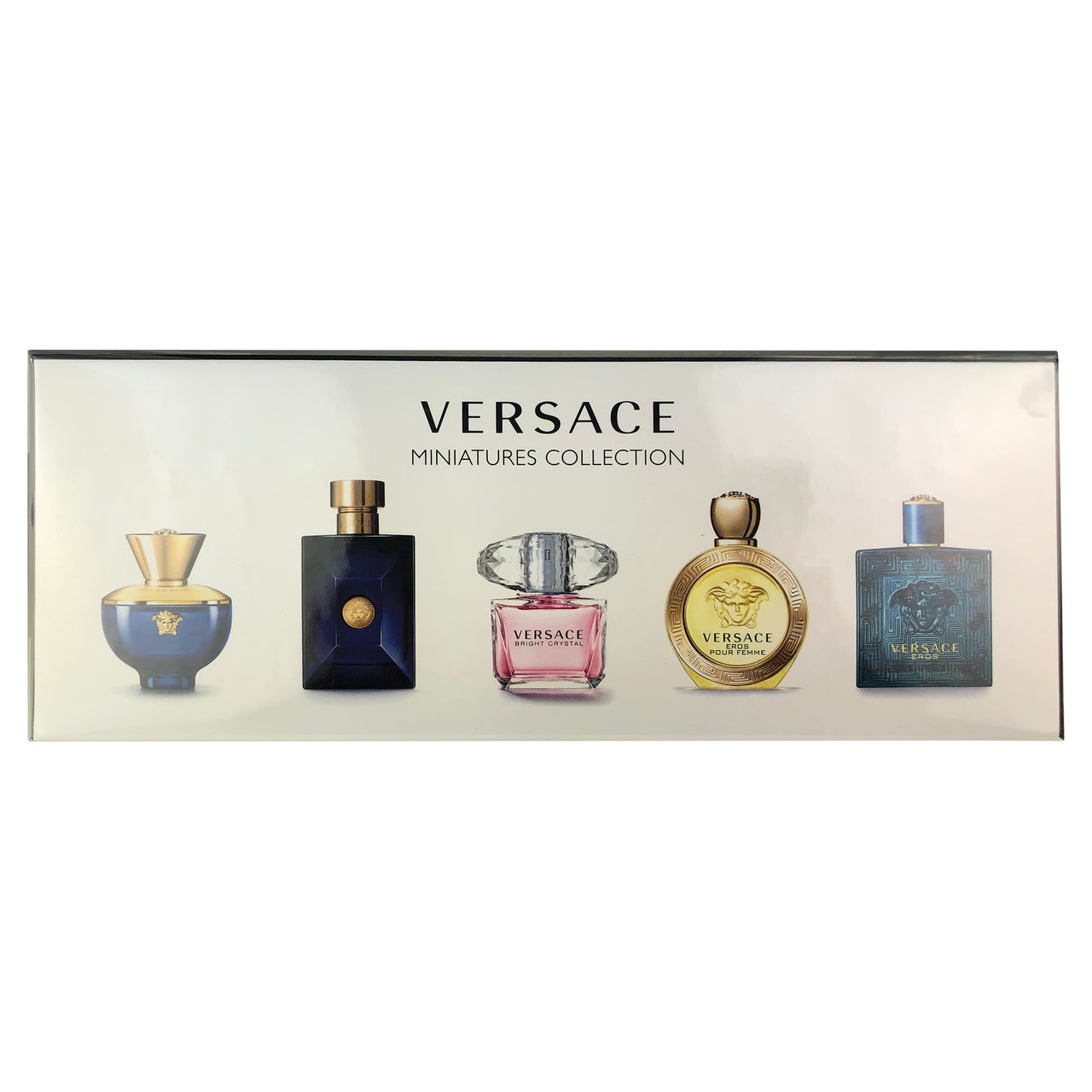 Versace 5 Pc. Miniature Collection For Men & Women Eros Eros Pour Femme Bright Crystal Pour Homme Dylan Blue Pour Femme & Homme .17 oz EDT/EDP Sp