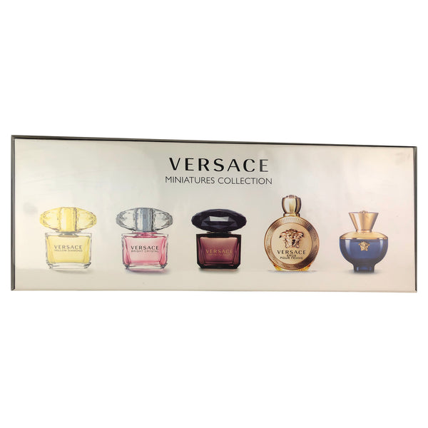 Versace 5 Pc. Perfume Miniature Collection Set For Women .17 oz each EDP Eros Pour Femme EDP Crystal Noir EDT Bright Crystal EDT Yellow Diamond EDT