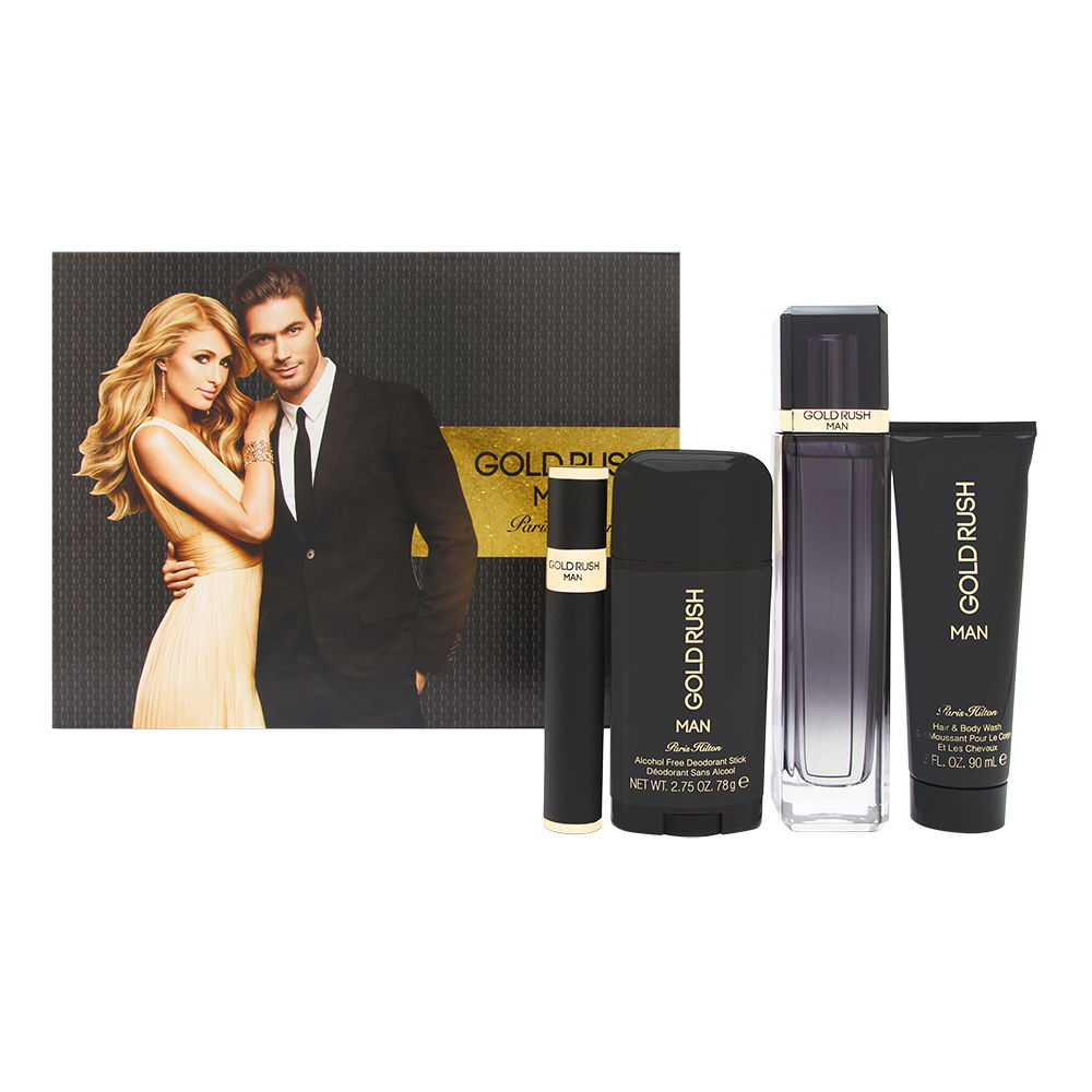 Paris Hilton Gold Rush Man 4 Piece Set Includes: 3.4 oz Eau de Toilette Spray + 3.0 oz Body Wash + 2.75 oz Alcohol-Free Deodorant Stick + 0.5 oz Eau de Toilette Spray
