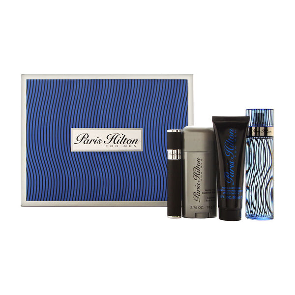 Paris Hilton for Men 4 Piece Set Includes: 3.4 oz Eau de Toilette Spray + 0.34 oz Eau de Toilette Spray + 3.0 oz Hair & Body Wash + 2.75 oz Alcohol Free Deodorant
