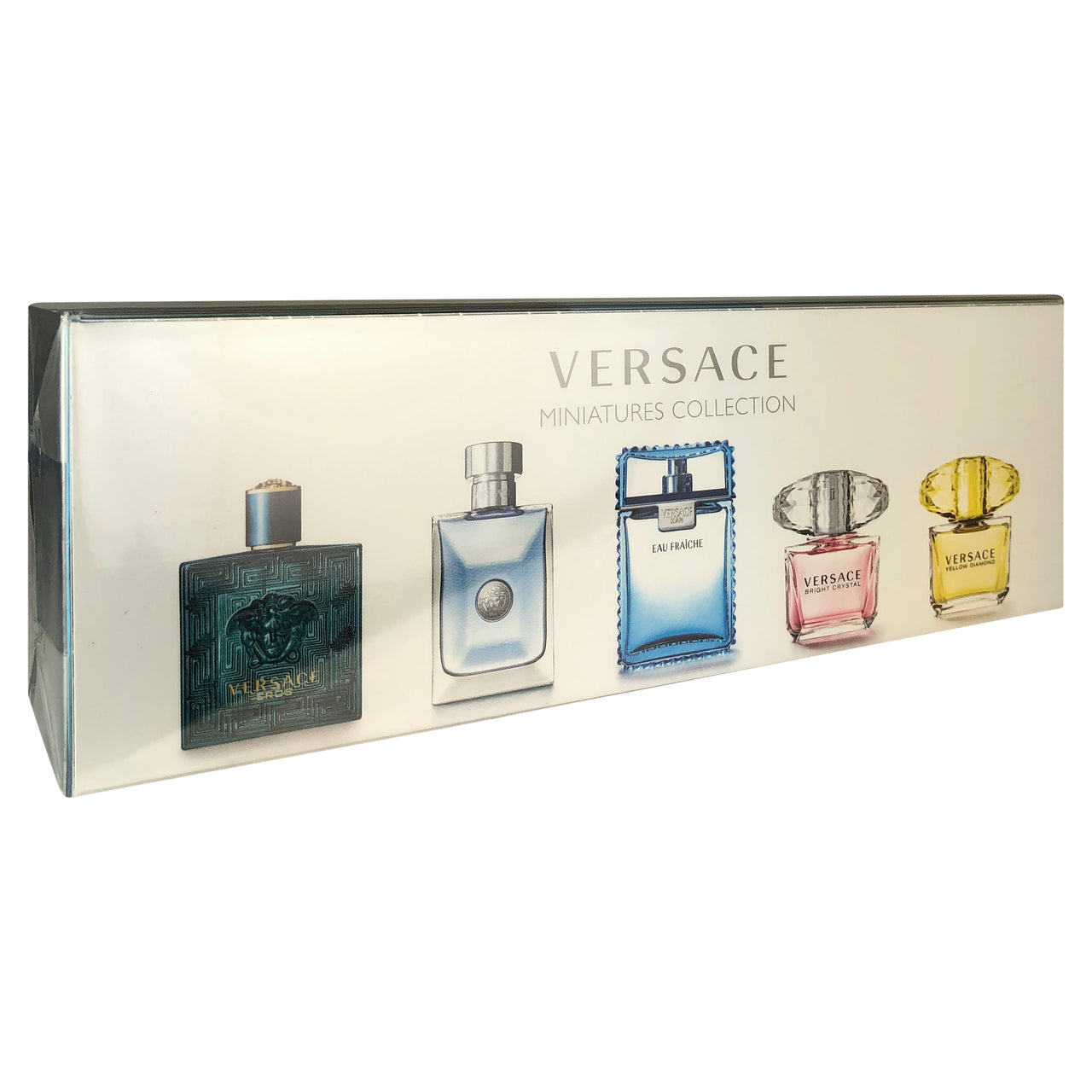 Versace 5 Pc. Miniature Collection For Men and Women Yellow Diamond Bright Crystal Man Eau Fraiche Pour Homme Eros .17 oz EDT Spray