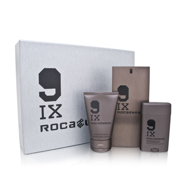 9IX Rocawear for Men 3 Piece Set Includes: 3.4 oz Eau de Toilette Spray + 3.4 oz After Shave Balm + 2.6 oz Deodorant Stick
