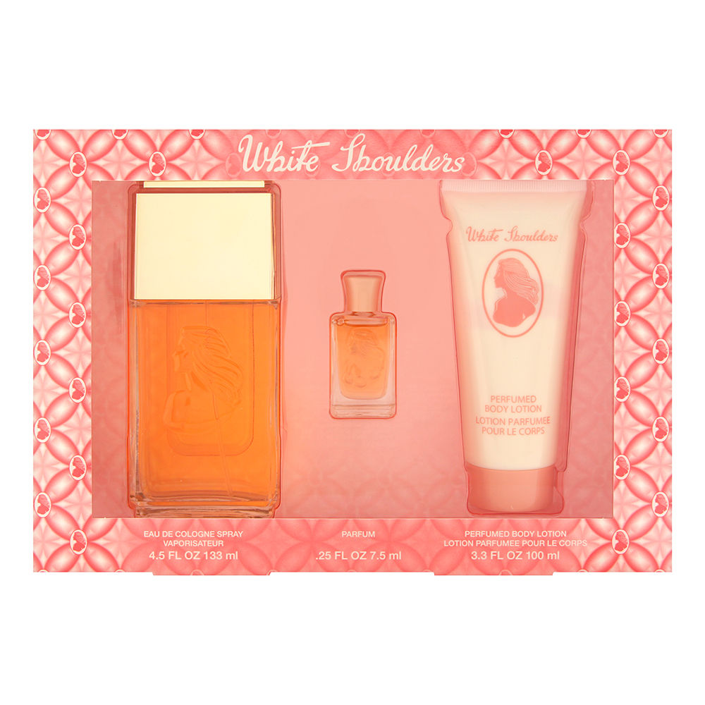 White Shoulders by Elizabeth Arden for Women 3 Piece Set Includes: 4.5 oz Eau de Cologne Spray + 3.3 oz Perfumed Body Lotion + 0.25 oz Parfum
