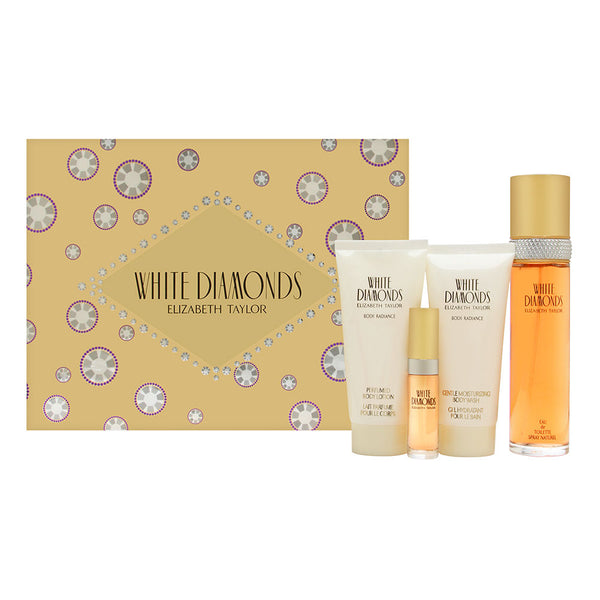 White Diamonds by Elizabeth Taylor for Women 4 Piece Set Includes: 3.3 oz Eau de Toilette Spray + 0.33 oz Eau de Toilette Spray + 3.3 oz Gentle Moisturizing Body Wash + 3.3 oz Perfumed Body Lotion
