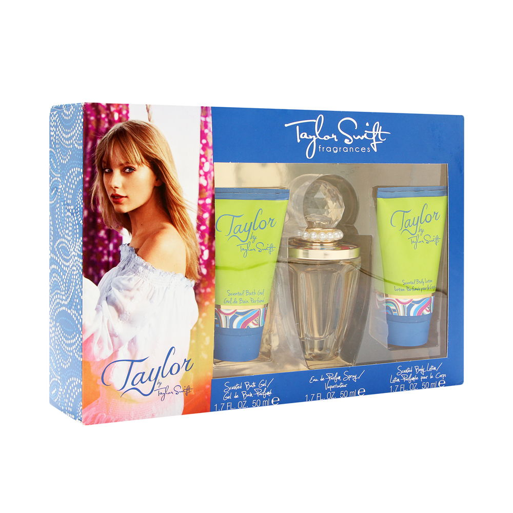 Taylor by Taylor Swift for Women 3 Piece Set Includes: 1.7 oz Eau de Parfum Spray + 1.7 Scented Bath Gel +  1.7 oz Scented Body Lotion