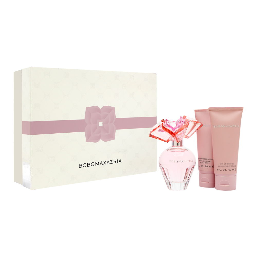 BCBG Max Azria by BCBG for Women 3 Piece Set Includes: 3.4 oz Eau de Parfum Spray + 3.0 oz Bath & Shower Gel + 3.0 oz Shimmering Body Lotion