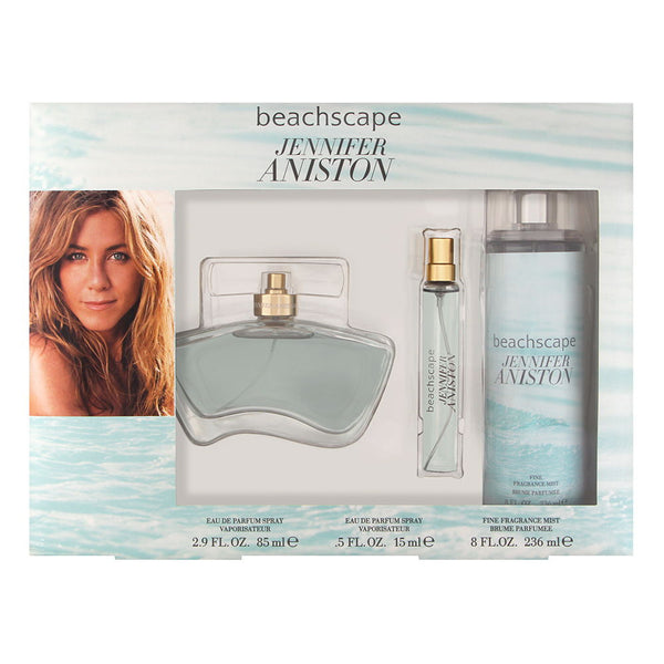 Jennifer Aniston Beachscape for Women 3 Piece Set Includes: 2.9 oz Eau de Parfum Spray + 8.0 oz Fine Fragrance Mist + 0.5 oz Fragrance Pen