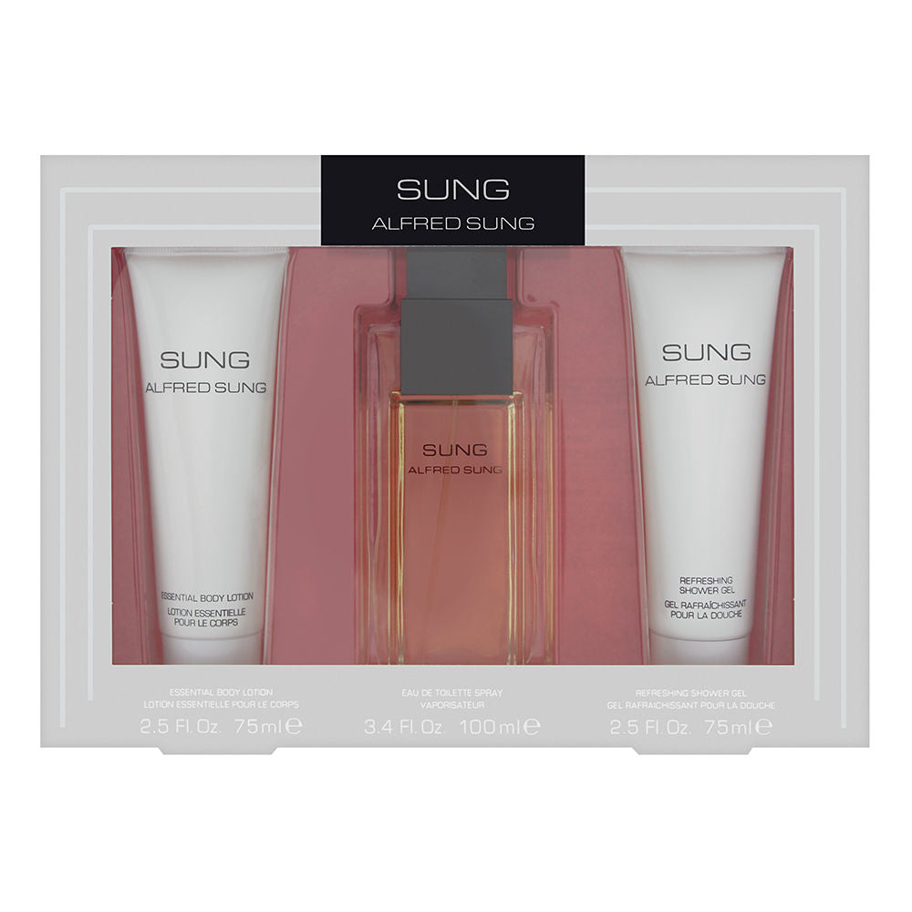 Sung by Alfred Sung for Women 3 Piece Set Includes: 3.4 oz Eau de Toilette Spray + 2.5 oz Essential Body Lotion + 2.5 oz Refreshing Shower Gel