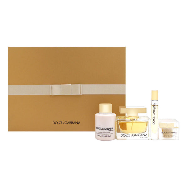 Dolce & Gabbana The One for Women 4 Piece Set Includes: 2.5 oz Eau de Parfum Spray + 3.3 oz Perfumed Body Lotion + 0.2 oz Eau de Parfum Spray + 0.21 oz Shimmering Powder