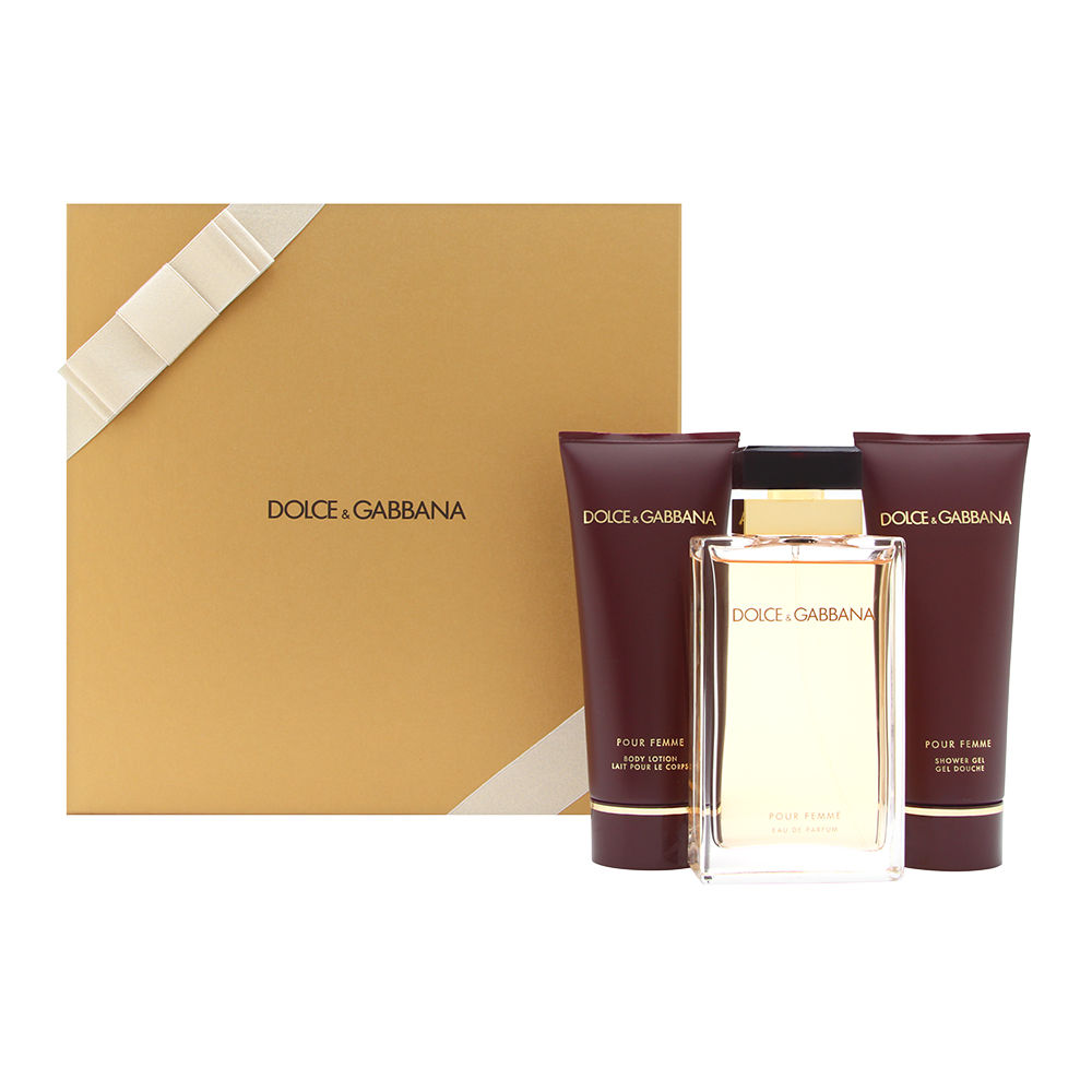 Dolce & Gabbana Pour Femme for Women 3 Piece Set Includes: 3.3 oz Eau de Parfum Spray + 3.3 oz Perfumed Body Lotion + 3.3 oz Shower Gel