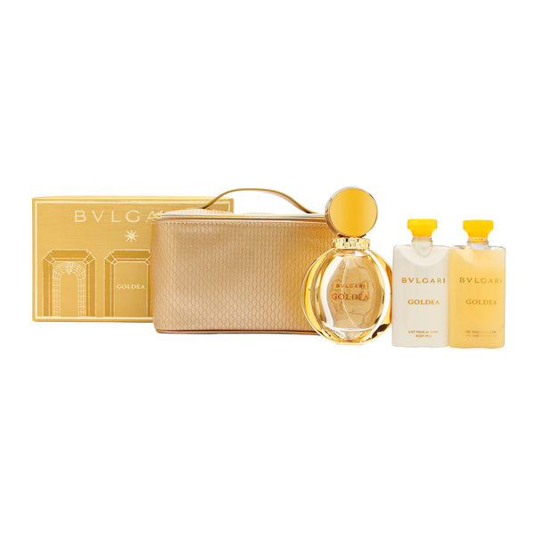 Bvlgari Goldea by Bvlgari for Women 4 Piece Set Includes: 3.04 oz Eau de Parfum Spray + 2.5 oz Body Lotion + 2.5 oz Shower Gel + Travel Pouch